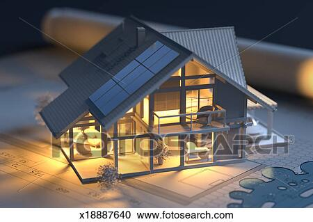 Delighted House Model With Solar Panels