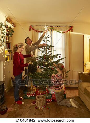At Home Christmas Trees.Family Setting Up Christmas Tree At Home Stock Image