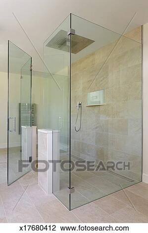 Stock Photo of Glass shower with open glass door x17680412 - Search ...