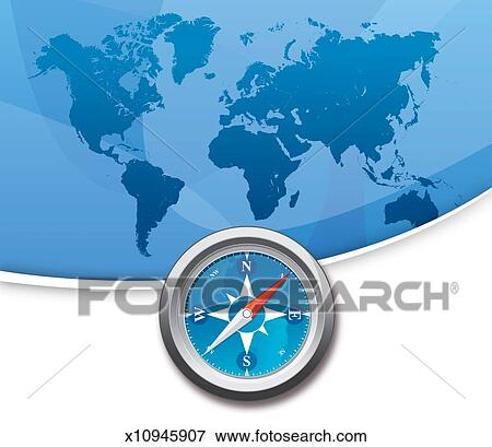 Map Of The World With Compass.Stock Illustration Of Compass Illustration With Map Of The World