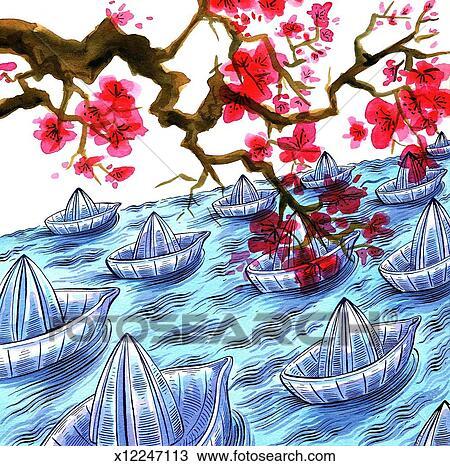 japonaise origami bateaux et fleur cerise dessin. Black Bedroom Furniture Sets. Home Design Ideas