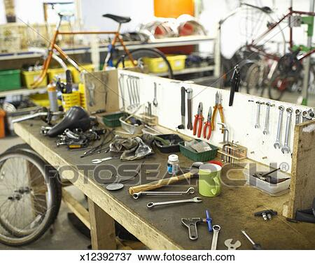Working space in bicycle repair shop  Stock Photo