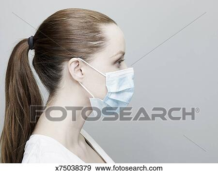 Wearing A Stock Photo Mask Woman Surgical Young