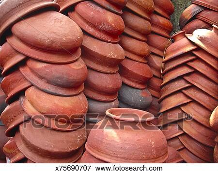 Image - argile rouge, poterie, placé, dans ligne, vendre x75690707 ...