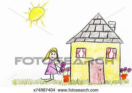 Gosses Dessin De Jardin Maison Dessins X74987404