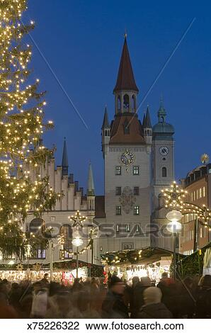 Munich Christmas Market Dates.Germany Munich Christmas Market At Marienplatz And Tower Of Old Town Hall Stock Image
