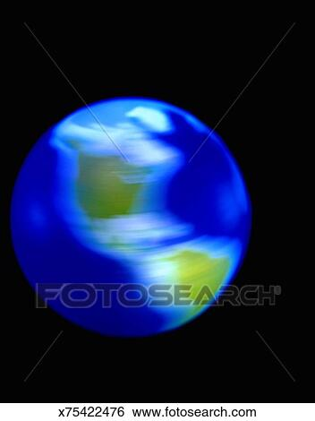 stock images of spinning globe showing north and south america