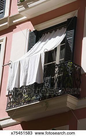 Stock Foto Fenster Mit Vorhang Und Balkon Mallorca Spanien