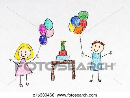 Ilustrace Z Mnoziny Deti Kresleni O Vecirek K Narozeninam