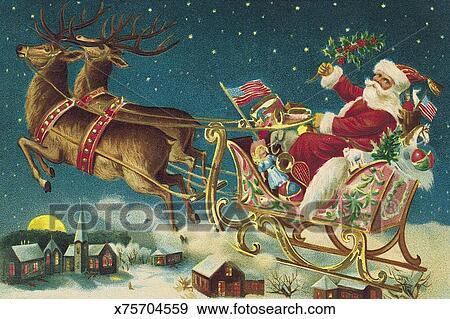 Immagini Di Babbo Natale Con La Slitta E Le Renne.Illustrazione Di Babbo Natale E Renna Con Volare Sleigh Archivio Illustrazioni