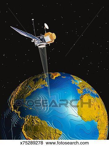 stock illustration of illustration of a satellite orbiting earth