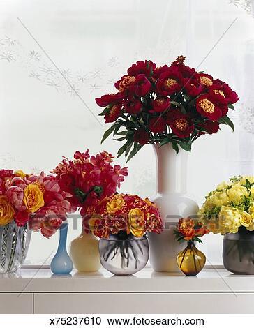 Stock Fotografie Vasen Von Blumen Auf Fensterbank X75237610
