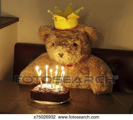 Big Teddy Bear With A Birthday Cake