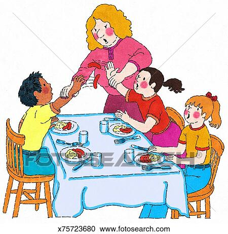 Stock Illustrations of Mrs. Stopping Food Fight x75723680 ...