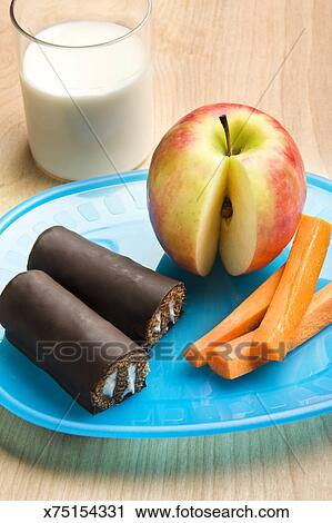 Kids Healthy And Unhealthy Snacks On A Plate
