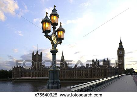 Stock Image Of A Lamp Post On Westminster Bridge Leading To Big Ben