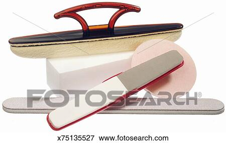 Different styles and types of emery boards Stock Photo