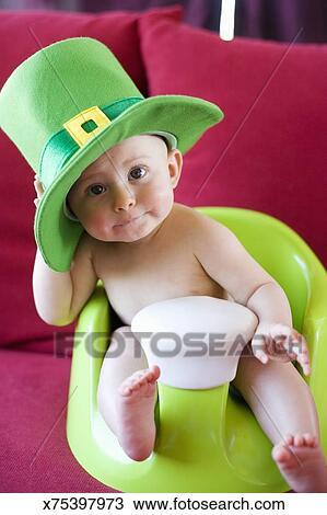 Baby wearing leprechaun hat Stock Photo x75397973 f306ac094e4