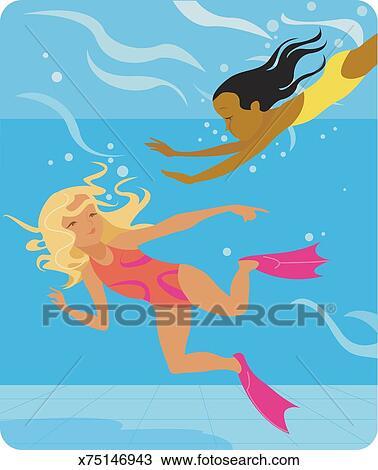 Dessin filles nager dans piscine nageoires vue - Nager dans une piscine ...