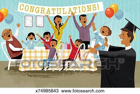 Drawing Of Boys Graduation Celebration X74985843