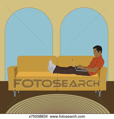 Homem Encontrar Se Sofa Trabalhar