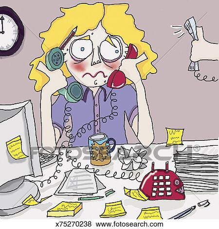 Stock Illustration of Stressed Receptionist Busy With ...
