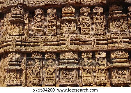 Relief carvings konark sun temple orissa india stock image