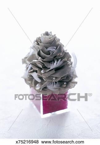 Pictures Of Little Christmas Tree Of Gray Rose Feather And Perl