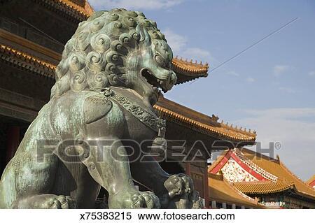 Lion Statue Forbidden City Beijing China
