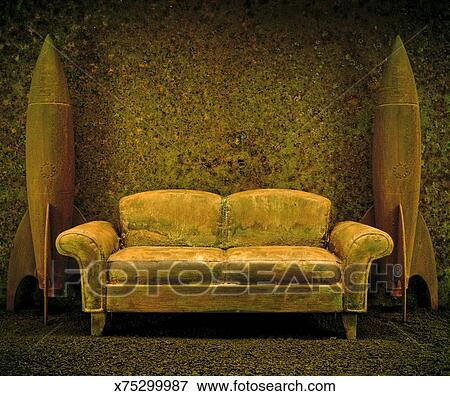 Picture Of Old Couch And Rusty Rockets X75299987 Search Stock