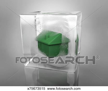 A Green House Frozen In An Ice Cube