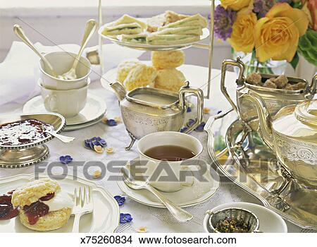Afternoon tea table setting & Stock Photo of Afternoon tea table setting x75260834 - Search Stock ...