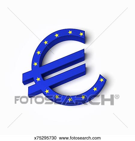Stock Ilration Euro Currency Symbol In European Union Flag Design Fotosearch Search Clipart