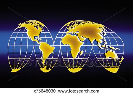 Map of world from Goode\'s homolosine projection Clipart ...