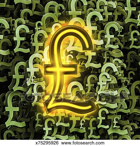Stock Illustration Of Multiple Pound Sterling Symbols With One In