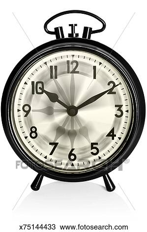 Stock Photo Of Old Black Alarm Clock With Multiple Hands Spinnin