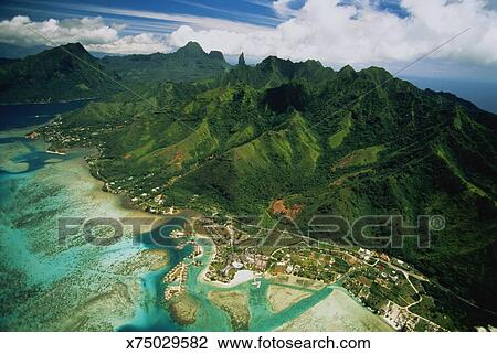 Pacific Islands French Polynesia Tahiti Moorea Island Aerial View Stock Image