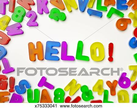 refrigerator magnet letters spelling hello