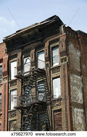 Apartment Building With Fire Escape Ladders New York City