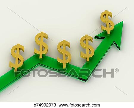 Drawing Of Green Growth Chart With Money Symbols X74992073 Search