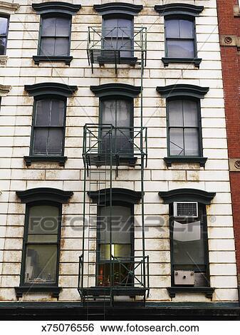 Banque d\'Images - usa, new york, soho, vieux, blanc, et, vert ...