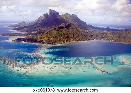 French Polynesia Bora Bora Island Aerial View Stock Photo