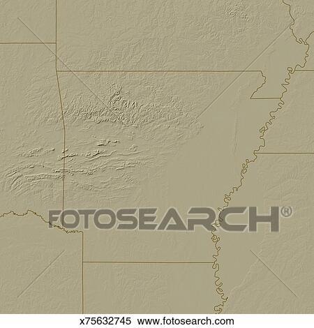 Topographic Map of Arkansas Stock Illustration