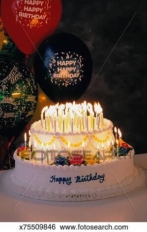 Happy Birthday Cake Stock Photograph