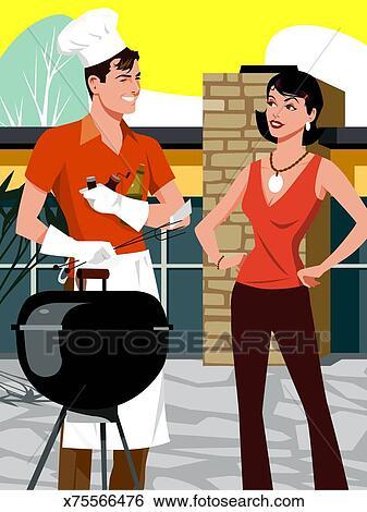 banque d 39 illustrations position femme c t de homme utilisation gril barb cue sourire. Black Bedroom Furniture Sets. Home Design Ideas