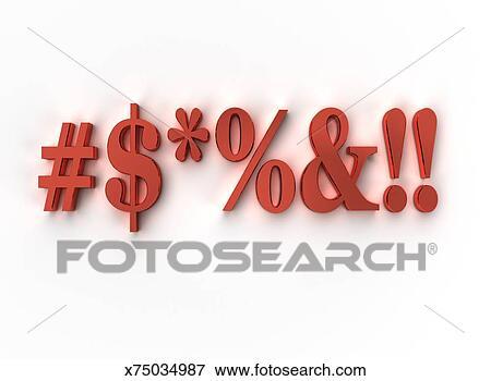 3D curse symbols on white Stock Illustration