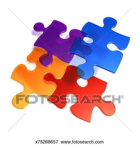 stock illustration of four 3d puzzle pieces connecting x75268657