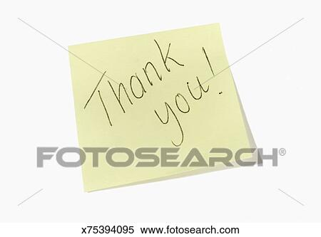 Stock Image Yellow Sticky Note Saying Thank You Fotosearch Search Photos