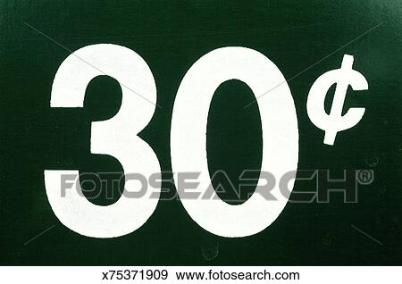 Stock Photograph Of Price Sign Us Currency 30 Cents X75371909