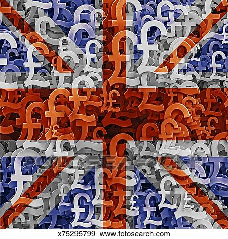 Stock Illustration Of Uk Flag Overlaid On Mutiple Pound Currency